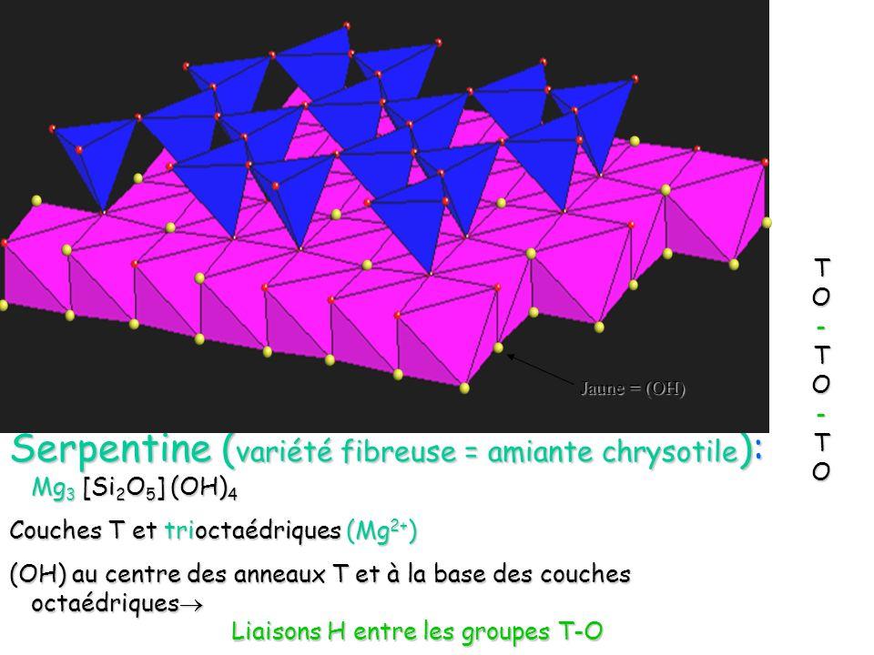 Serpentine (variété fibreuse = amiante chrysotile): Mg3 [Si2O5] (OH)4